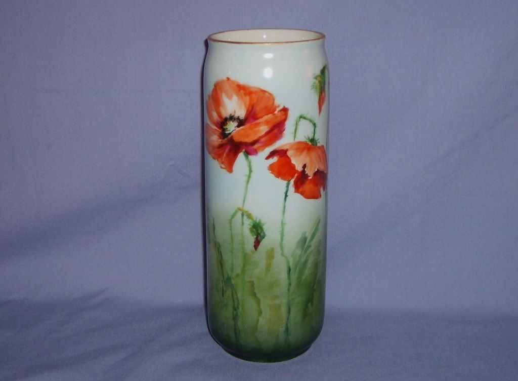 Limoges Poppy Vase Porcelain PL France 1905-1930's Handpainted