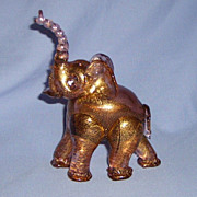 SALE Salviati Art Glass Elephant Murano Italy Pink Gold Flecks Aventurine Vintage