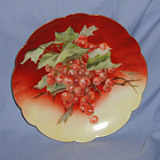 SALE Handpainted Limoges France Plate Currants Berries Signed Fischer