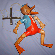 SALE Vintage Cartoon Character Duck Carved Wood Marionette Folk Art Puppet