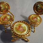 SALE Miniature Limoges France Porcelain Table & 2 Chairs Vintage Romantic Furniture