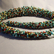 "Unusual loop design beaded glass Necklace BIG & BOLD graduated 29"" Vintage woven"