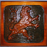 SALE Rampant Lion Relief Carved Wood Wall Plaque Folk Art Vintage