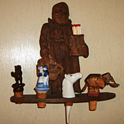 Carved Wood Monk Figural Pipe Rack Match Holder Vintage Black Forest wall mounting
