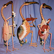 SALE Flamingo Bird Sculptures Musician Band Vintage Pink Tropical Metal Vintage Huge