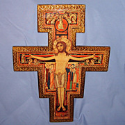 SALE Italian Florentine Crucifix Jesus Christ Gilt Wood Vintage Cross Wall Plaque