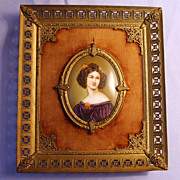 "SALE Antique Miniature Porcelain Portrait Painting ""Anna Kaula"" Ornate Metal Frame"