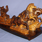 SALE 1940�s Bear Driving Troika Russian Carved Wood Sleigh Vintage Horses Folk Art