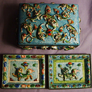 SALE Chinese Enamel Set Foo Dogs Box & 2 Trays Early 20th Century Cloisonne