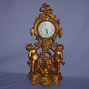 Circa 1917 Ornate Gilded Cherub Putti New Haven Clock Rococo Frame Criterion