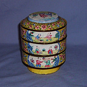 SALE Antique Chinese Canton Enamel Stacking Bowl Set Sweet Meat