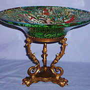 SALE Jose Cire Royo Moser Enameled Glass Large Tazza Gilded Bronze Mount Bowl Spanish