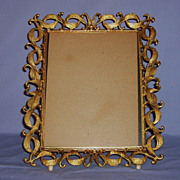 SALE Vintage Gilt Metal Picture Photo Frame Lovely Openwork Scrolls