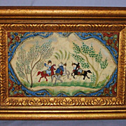 Persian Oil Painting on Bone Vintage Framed Playing Polo Horses