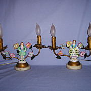 SALE Pair French Girandole Lamps Porcelain Flowers Lady Man Figurines Gilt Tole
