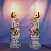 SALE Pair Porcelain Bisque Lamps Cherub Putti playing Flutes Andrea Vintage