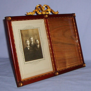 SALE Early 20th Century Wood Double Photo Picture Frame French Dore Bronze Ribbon Beveled Glas