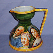 SALE ITALIA Signed Angelo MINGHETTI Bologna Italian Pottery Pitcher Renaissance People