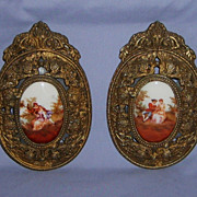 SALE Antique French Porcelain Plaques with Ornate Bronze Frames Pair