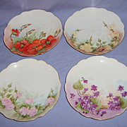 SALE Antique Hand Painted Bavaria 7� Plates Floral Set of 4