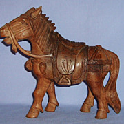 Antique Chinese Carved Wood Horse War Ceremonial Sculpture Folk Art
