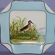 SALE Antique Haviland Limoges Bird Plate Rare Napkin Fold Hand Painted Porcelain Blue