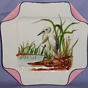 SALE Antique Haviland Limoges Bird  Plate Rare Napkin Fold Egret Hand Painted Porcelain Pink