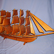 SALE Huge Folk Art Wooden Clipper Ship Model Wood Sails Boat 39� Vintage