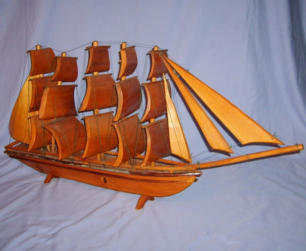 "Huge Folk Art Wooden Clipper Ship Model Wood Sails Boat 39"" Vintage"