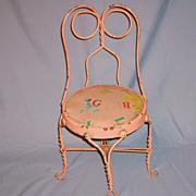 Early 1900�s Child�s Ice Cream Parlor Chair Pretty Pink Twisted Wrought Iron Metal