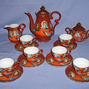Satsuma Moriage Tea Coffee Set Demitasse Early 1900s Porcelain Japanese Hand Painted Vintage