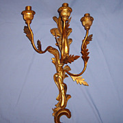 SALE Gorgeous Italian Florentine Candelabra Sconce Gilded Carved Wood & Metal Early 1900�s