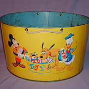 SALE Vintage Mickey Mouse Donald Duck Pluto Huge Metal Toy Tub Walt Disney Productions Cartoon