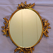 SALE Antique Gilt Metal Mirror Rococo Large Hanging Oval Ornate Picture Photo Art Frame