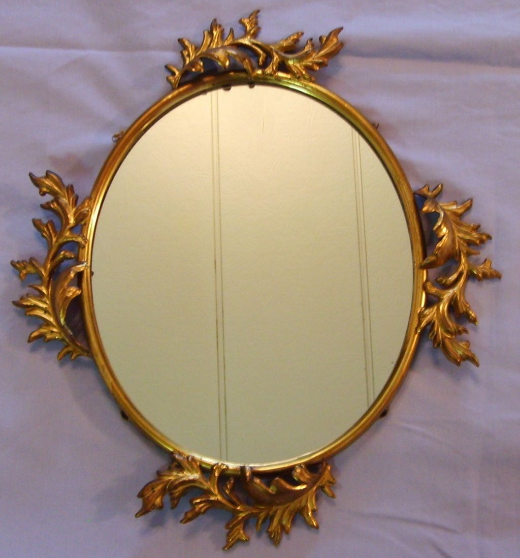 Antique Gilt Metal Mirror Rococo Large Hanging Oval Ornate Picture Photo Art Frame