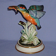 SALE Guido Cacciapuoti Kingfisher Bird with Fish Cattails Italian Porcelain Figurine