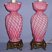 SALE Pair 1930�s Cranberry Swirl Art Glass Lamps Gorgeous Vintage