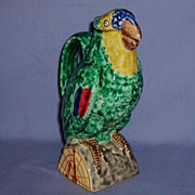 Angelo MINGHETTI Bologna Italian Parrot Pitcher Majolica Decanter Jug Figural