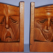 SALE Comedy & Tragedy Carved Wood Book Ends Folk Art Vintage Carving Sculpture Thespian