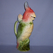 SALE St Clement Parrot Cockatoo Bird Pitcher Majolica France French Faience Saint