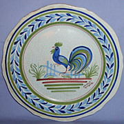 Henriot Quimper Rooster Plate Vintage 10 dinner Bird French Faience Blue-Green