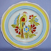 SALE Henriot Quimper Bird Plate Vintage 10� dinner Canary Budgie French Faience Yellow