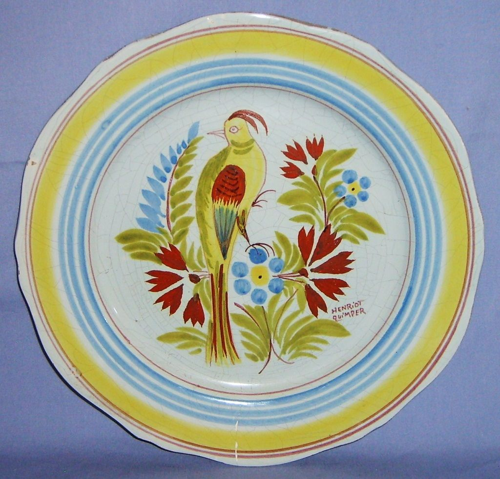 "Henriot Quimper Bird Plate Vintage 10"" dinner Canary Budgie French Faience Yellow"