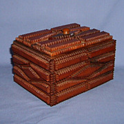 Tramp Art Box with Lid Chip carved layers early 1900s diamond shaped design Folk ...