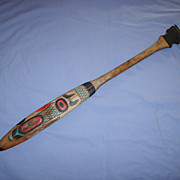 SALE Old Northwest Coast Salmon Paddle Oar Vintage Carved Wood Hand-painted 40 �� Native Ameri