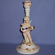 SALE Luigi Fabris Candlestick Angel Cherub Putti Playing Mandolin Italian Vintage