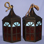 Antique Arts & Crafts Pair Hanging Lamps Slag Glass Petit