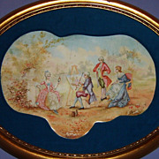 SALE Huge Antique Viennese Enamel Framed Panel Neoclassical Portrait Painting Lady Austrian