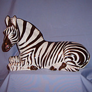 Hollywood Regency Italian Majolica Zebra Sculpture Art Pottery Large 17� Vintage