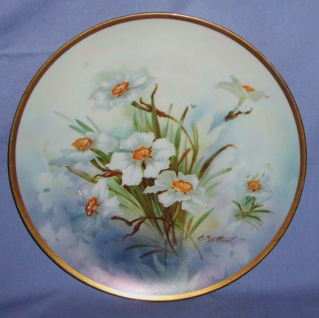 1899-1918 Porcelain Hand-Painted Vienna Austria Plate Ernst Wahliss